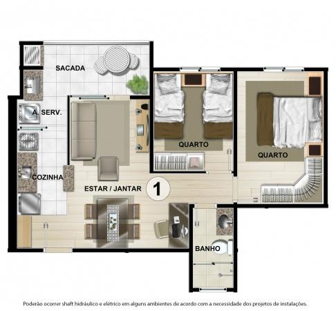 Planta Tipo A - 55 m² - Residencial CastellMonte