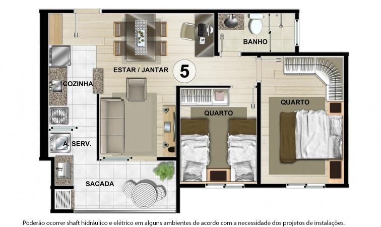 Planta Tipo C - 55 m² - Residencial CastellMonte