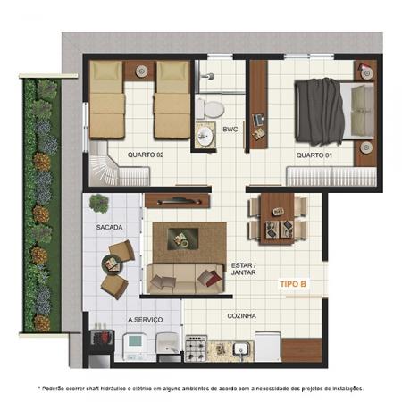 Planta Tipo B - com Garden - 46,81 m² - London Residencial