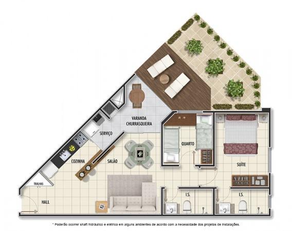 Planta Tipo A - 2 quartos - 72m² - com jardim privativo - Mar Grosso Residencial Clube