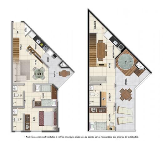 Planta Duplex - 3 quartos - 100 m² - Mar Grosso Residencial Clube