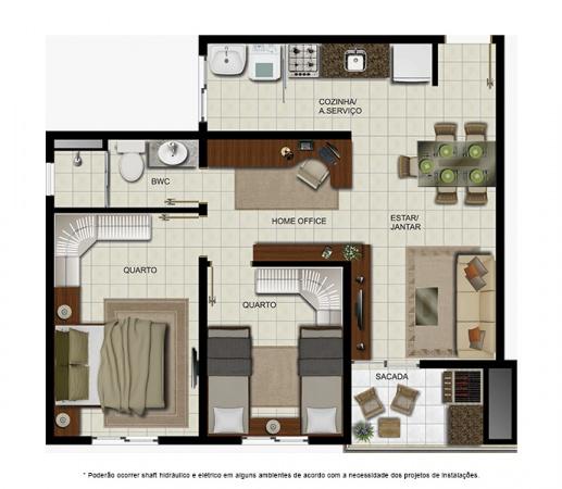 Planta 2 quartos - 65 m² - Condomínio Villa Treviso