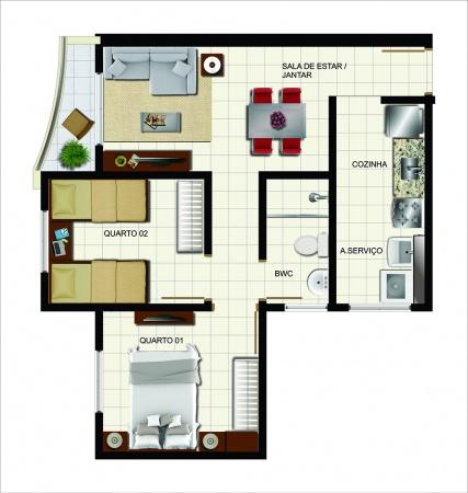 Planta 2 dormitórios com sacada - 47m² de área privativa - New Wave Nações