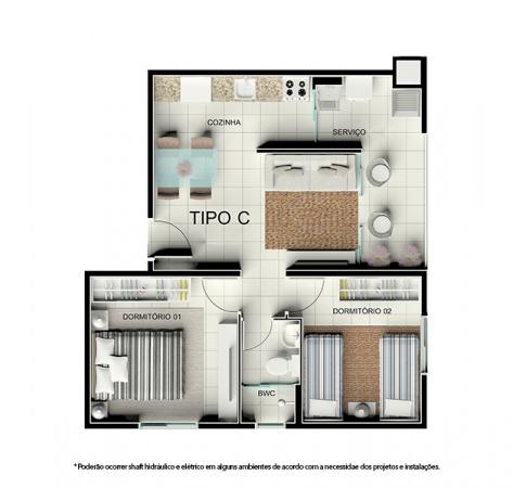 Planta Tipo C - 46,68 m² - Residencial Tordesilhas 2