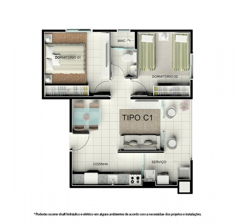 Planta Tipo C1 - 46,68 m² - Residencial Tordesilhas 2