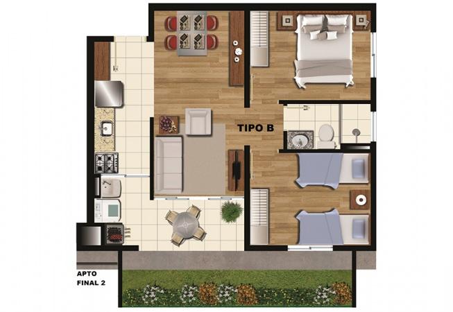Planta Tipo B - 47 m² - Condominio Residencial Arboretto